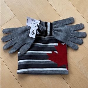 NWT grey/white knit hat and gloves